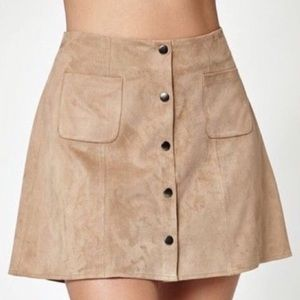 Kendall & kylie brown faux suede skirt size XS